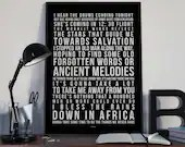Africa - Song Lyrics Typography Toto Tribute - PRINTED music Art bedroom office old style lounge kitchen home decor