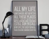 In My Life - Song Lyrics Typography The Beatles Tribute - PRINTED music Art bedroom office old style lounge kitchen home decor