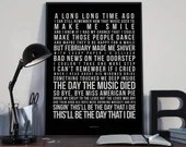 American Pie - Song Lyrics Typography Don Mclean Tribute - PRINTED music Art bedroom office old style lounge home decor
