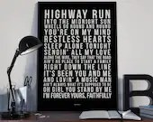 Faithfully - Song Lyrics Typography Journey Tribute - PRINTED music Art bedroom office lounge home decor