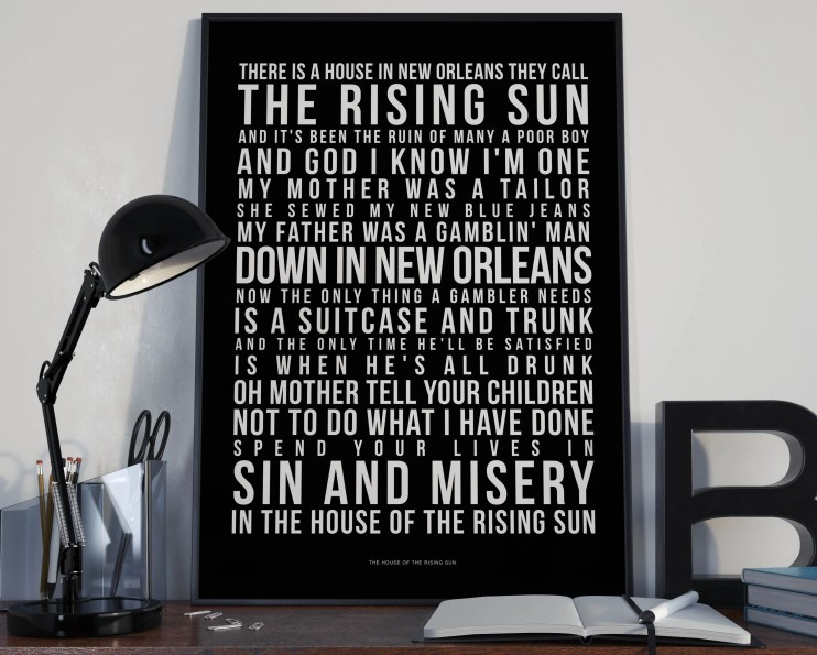 House Of The Rising Sun - Song Lyrics Typography The Animals Tribute - PRINTED music Art bedroom office lounge home decor