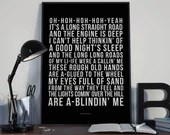 Lights On The Hill - Song Lyrics Typography Slim Dusty Tribute - PRINTED music Art bedroom office lounge home decor