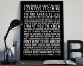 Kite - Song Lyrics Typography U2 Tribute - PRINTED music Art bedroom office lounge home decor