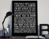 Kite - Song Lyrics Typography U2 Tribute - PRINTED music Art bedroom office lounge home decor