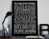 Hotel California - Song Lyrics Typography The Eagles Tribute - PRINTED music Art bedroom office lounge home decor