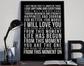 From This Moment - Song Lyrics Typography Shania Twain Tribute - PRINTED music Art bedroom office lounge home decor