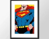 Superman - Digitally Painted - PRINTED comic book style for the Big Boys Geek man cave nerds bedroom office kids nursery superhero dc comics
