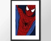 Spiderman - PRINTED comic book style for the Big Boys Geek man cave nerds bedroom office kids nursery superhero marvel comics