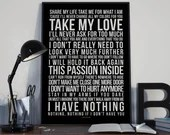 I Have Nothing - Song Lyrics Typography Whitney Houston Tribute - PRINTED music Art bedroom office lounge home decor