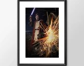 Obiwan Kenobi Jedi Knight - Star wars inspired - PRINTED for the Big Boys and girls Geek man woman cave nerds bedroom office kids