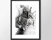 Star Wars Art - Series 1 - Boba Fett  Boys Geek man cave nerds bedroom office kids