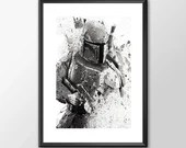 Star Wars Art - Series 1 - Boba Fett  Boys Geek man cave nerds bedroom office kids