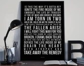 Torn In Two - Song Lyrics Typography Breaking Benjamin Tribute - PRINTED music Art bedroom office lounge home decor