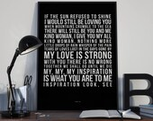 Thank You - Song Lyrics Typography Led Zeppelin Tribute - PRINTED music Art bedroom office lounge home decor