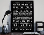 Cleaning Windows - Song Lyrics Typography Van Morrison Tribute - PRINTED music Art bedroom office lounge home decor