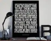 Trying To Live My Life Without You  - Song Lyrics Typography Bob Seger Tribute - PRINTED music Art bedroom office lounge home decor