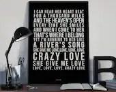Crazy Love - Song Lyrics Typography Van Morrison Tribute - PRINTED music Art bedroom office lounge home decor