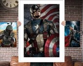 Captain America - PRINTED for the Big Boys Geek man cave nerds bedroom office kids nursery superhero marvel comics avengers