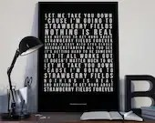 Strawberry Fields Forever - Lyrics Typography The Beatles Tribute - PRINTED music Art bedroom office old style lounge kitchen home decor
