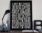 Cups - Miss Me When I'm Gone - Song Lyrics Typography Pitch Perfect Tribute - PRINTED music Art bedroom office lounge home decor
