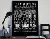Piano Man - Song Lyrics Typography Billy Joel Tribute - PRINTED music Art bedroom office lounge home decor