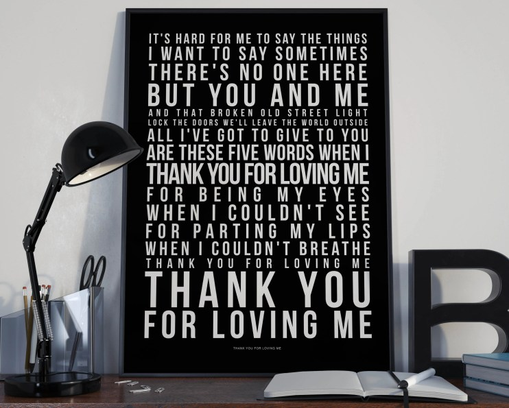 Thank You For Loving Me - Lyrics Typography Bon Jovi Tribute - PRINTED music Art bedroom office old style lounge kitchen home decor
