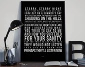 Vincent (Starry Starry Night) - Song Lyrics Typography Don Mclean - PRINTED music Art bedroom office lounge home decor
