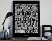Thunderstruck - Song Lyrics Typography ACDC Tribute - PRINTED music Art bedroom office lounge home decor