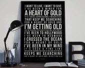 Heart Of Gold - Song Lyrics Typography Neil Young Tribute - PRINTED music Art bedroom office lounge home decor