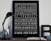 Desiderata - Song Lyrics Typography Tribute - PRINTED music Art bedroom office lounge home decor