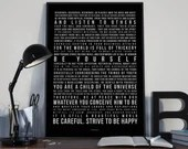 Desiderata - Song Lyrics Typography Tribute - PRINTED music Art bedroom office lounge home decor