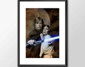 Luke Skywalker & Princess Leia  - Star wars - PRINTED Boys girls Geek kids man cave nerds bedroom office