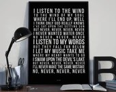 The Wind - Song Lyrics Typography Cat Stevens Tribute - PRINTED music Art bedroom office lounge home decor