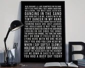 Tiny Dancer - Song Lyrics Typography Elton John Tribute - PRINTED music Art bedroom office lounge home decor