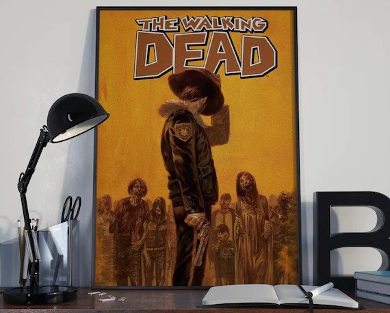 Walking Dead Comic Book Art 6 Classic Rick Comic Book Cover Art Cover for the Big Boys Geek man cave nerds bedroom office
