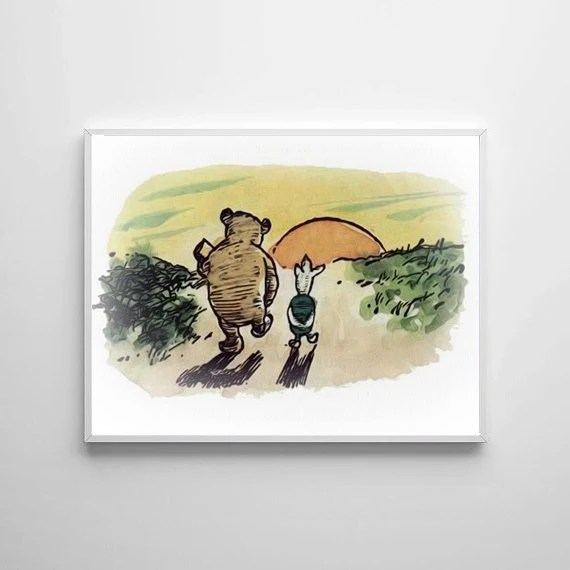 Winnie The Pooh Traditional Art Classic kids bedroom office nursery old style lounge kitchen home decor