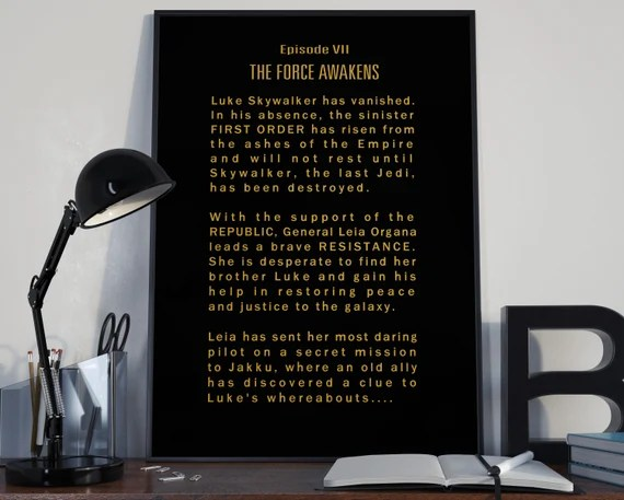 The Force Awakens Episode VII Opening Crawl Star Wars Tribute for the Big Boys Geek man cave nerds bedroom office kids