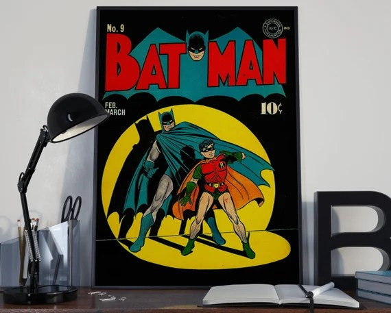 Classic Batman - Classic Comic Book Cover for the Big Boys Geek kids man cave nerds bedroom office nursery superhero