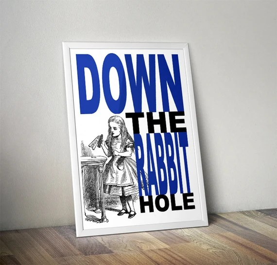 Down The Rabbit Hole - DIGITAL Traditional Alice In Wonderland Art Classic kids bedroom office nursery old style lounge kitchen home decor
