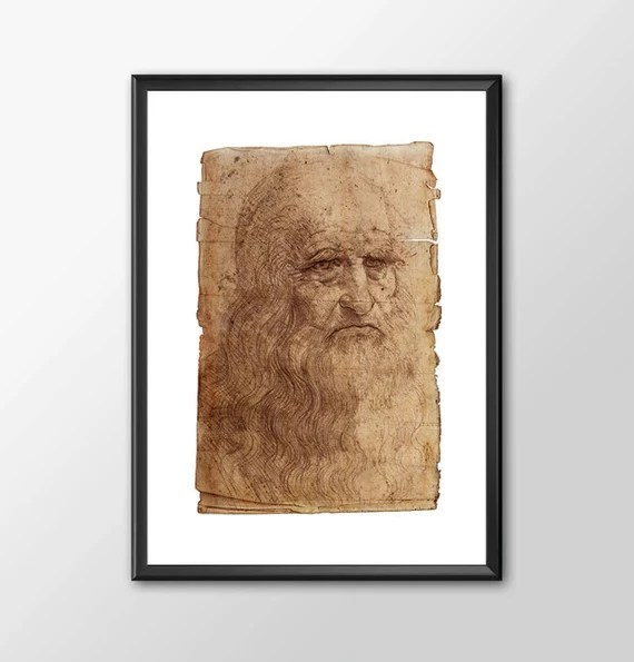 Da Vinci Self Portrait - Leonardo Da Vinci Tribute kids bedroom office nursery old style lounge kitchen man cave