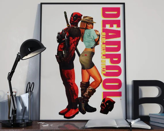 Deadpool 4 Classic Comic Book Cover Art Cover for the Big Boys Geek man cave nerds bedroom office kids superhero