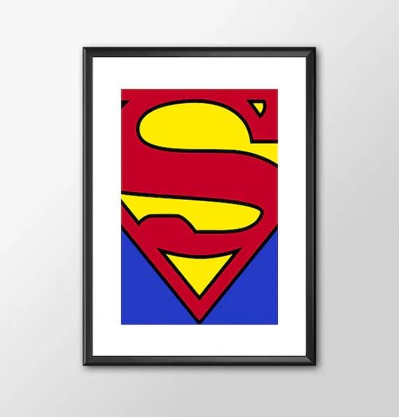 Superman Logo - Classic Superhero Tribute  Comic style for the Big Boys Geek kids man cave nerds bedroom office nursery superhero dc comics