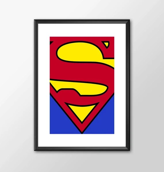 Superman Logo - Classic Superhero Tribute  Comic style for the Big Boys Geek kids man cave nerds bedroom office nursery superhero dc comics