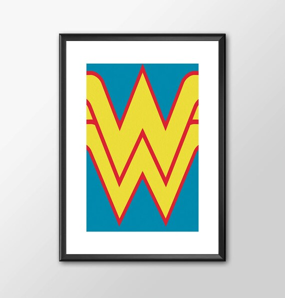 Wonder Woman Logo Classic comic book style for the Big Boys Geek man cave nerds bedroom office kids superhero dc comics