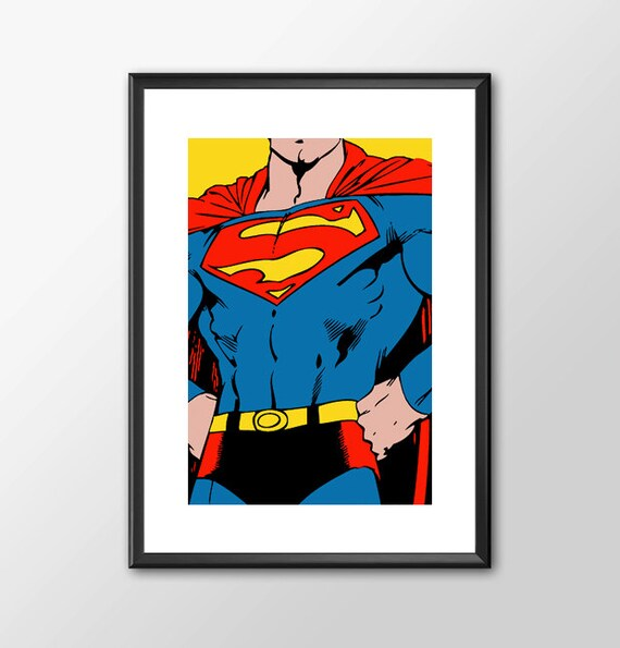 Superman - Digitally Painted - PRINTED comic book style for the Big Boys Geek man cave nerds bedroom office kids nursery superhero dc comics