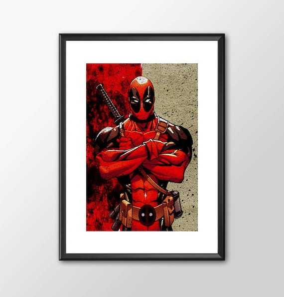 Deadpool - comic book style  Boys Geek man cave nerds bedroom office superhero marvel comics