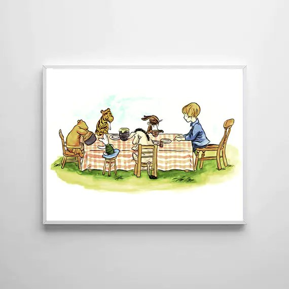 Winnie The Pooh Traditional Artwork 4 - PRINTED Art Classic kids bedroom office nursery old style lounge kitchen home decor