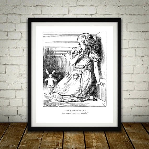 Who In The World Am I - Traditional Alice In Wonderland Art Classic kids bedroom office nursery old style lounge kitchen home decor