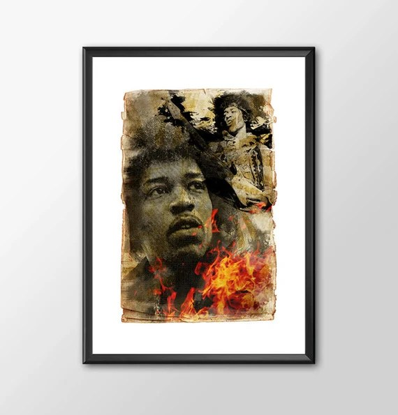Jimi Hendrix  - music legend for the Big Boys Geek man cave nerds bedroom office