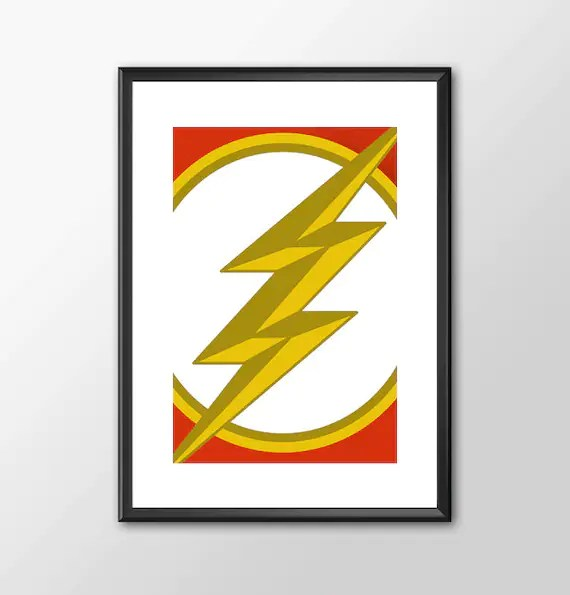 The Flash Logo Classic comic book style for the Big Boys Geek man cave nerds bedroom office kids superhero dc comics